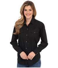Roper L S Solid Basic Snap Front Black Women's Long Sleeve Button Up