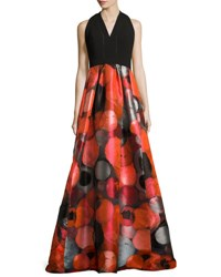 Carmen Marc Valvo Sleeveless Crepe And Taffeta Gown Red