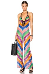 Missoni Mare Jumpsuit In Abstract Geometric Print Stripes Green Blue