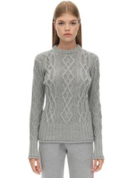 Thom Browne Crewneck Merino Wool Knit Sweater Light Grey