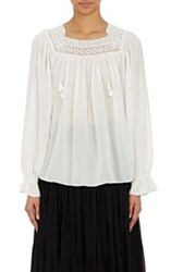 Saint Laurent Women's Gauze Peasant Top White