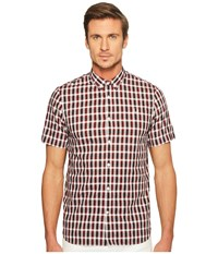 Fred Perry Three Colour Gingham Shirt Rosewood Men's Clothing Red