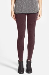 Junior Women's Sun And Shadow Texture Panel Leggings Burgundy Stem