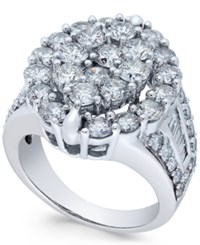 Macy's Diamond Oval Cluster Engagement Ring 4 Ct. T.W. In 14K White Gold