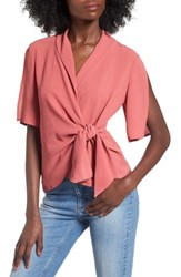 Leith Women's Tie Front Wrap Top Red Baroque