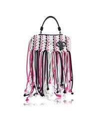 Emilio Pucci White Canvas Long Fringed Satchel Bag