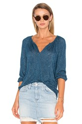 Velvet By Graham And Spencer Hugh 3 4 Sleeve V Neck Top Blue