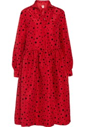 Shrimps Gerald Polka Dot Flocked Taffeta Midi Dress Red