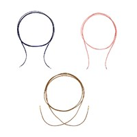 Intua Set Of 3 Suede Chokers With Silver Beadsnavy Blue Light Pink And Brown 2 M 6.5 Feet 14K Rose Gold Plated