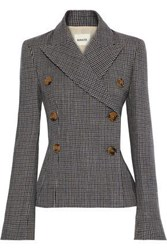 Khaite Woman Cathy Double Breasted Houndstooth Wool Blazer Dark Gray