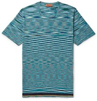 Missoni Space Dyed Knitted Cotton T Shirt Blue