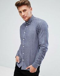 Solid Cotton Twill Shirt In Windowpane Check Navy