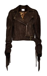 Magda Butrym Fringed Suede Moto Jacket Brown