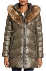 Women's Kensie Faux Fur Trim Down And Feather Fill Parka