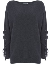 Mint Velvet Charcoal Marl Lace Up Batwing Grey