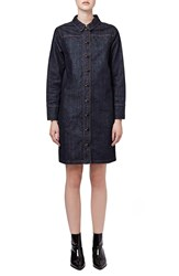 Topshop Button Front Denim Dress Mid Denim