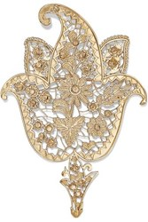 Etro Gold Tone And Crystal Brooch One Size