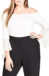 City Chic Plus Size Women's Lace Bell Sleeve Off The Shoulder Top Ivory
