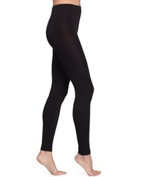 Neiman Marcus Lace Cuff Fleece Lined Leggings Black