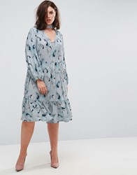 Lost Ink Plus Feather Print Smock Dress Multi