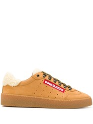 Dsquared2 Shearling Trimmed Sneakers Brown