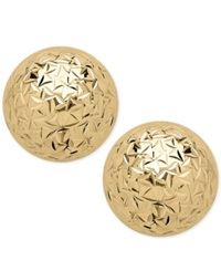 Macy's Crystal Cut Ball Stud Earrings 8Mm In 14K Gold