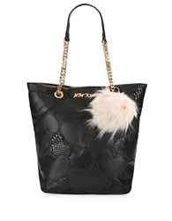 Betsey Johnson Sweet Hearts Tote And Faux Fur Charm Set Black
