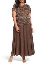 Pisarro Nights Plus Size Women's Beaded Mock Two Piece Gown Mocha