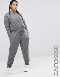Asos Curve Long Sleeve Jumpsuit In Sweat Grey Marl