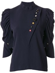 Toga Contrast Button Ruffle Sleeve Blouse 60