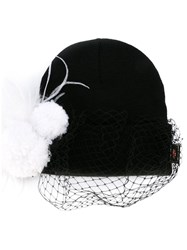 Piers Atkinson Feathered Veil Beanie Black