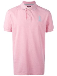 Hackett Logo Embroidery Polo Shirt Pink Purple