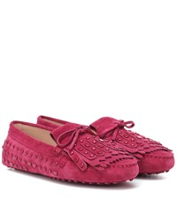 Tod's Gommino Suede Fringe Loafers Pink