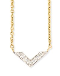 Sydney Evan Two Tone Diamond Chevron Necklace Yellow Gold