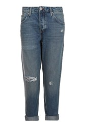 Topshop Petite Dirty Rip Hayden Jeans Dirty Denim