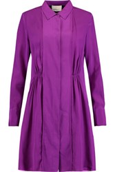 3.1 Phillip Lim Gathered Silk Crepe Mini Shirt Dress Purple