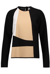 Derek Lam Color Block Crepe Top Black