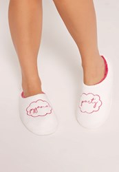 Missguided Pyjama Party Slippers White Pink
