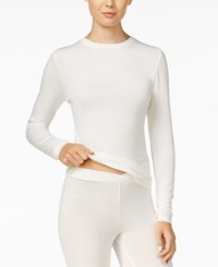 Cuddl Duds Softwear Stretch Long Sleeve Crew Shirt Ivory