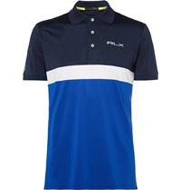Rlx Ralph Lauren Slim Fit Colour Block Stretch Pique Golf Polo Shirt Navy