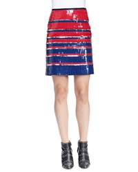 Lanvin Allover Striped Sequined Mini Skirt Navy Blue