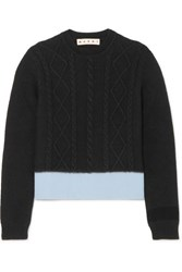 Marni Two Tone Cable Knit Sweater Black
