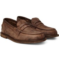 Hender Scheme Slouchy Washed Leather Penny Loafers Brown