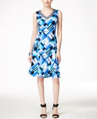 Jm Collection Sleeveless Printed A Line Dress Turquoise