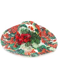 Dolce And Gabbana Floral Print Hat Green