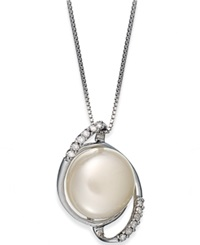Macy's Sterling Silver Necklace Diamond 1 10 Ct. T.W. And Cultured Freshwater Button Pearl 11Mm Pendant White