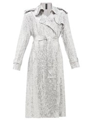 Norma Kamali Sequinned Double Breasted Trench Coat Silver