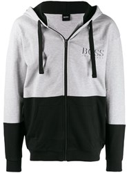 Hugo Boss Colour Block Hoodie Grey
