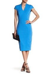 Alexia Admor V Neck Midi Dress Blue