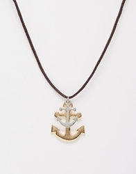 Asos Rope Necklace With Anchors Multi